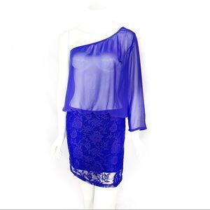 EUC-Zara Trafaluc Lace/Chiffon1Shoulder Mini dress